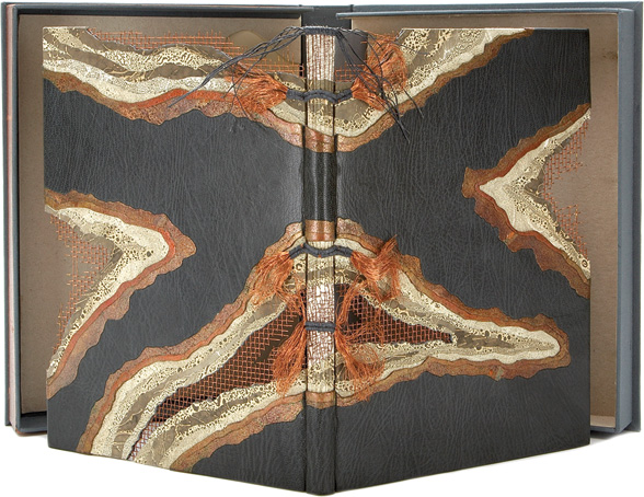 Louise Genest's one-of-a-kind binding of Match in a Bottle. Photo courtesy of Joshua Heller Rare Books, Inc.