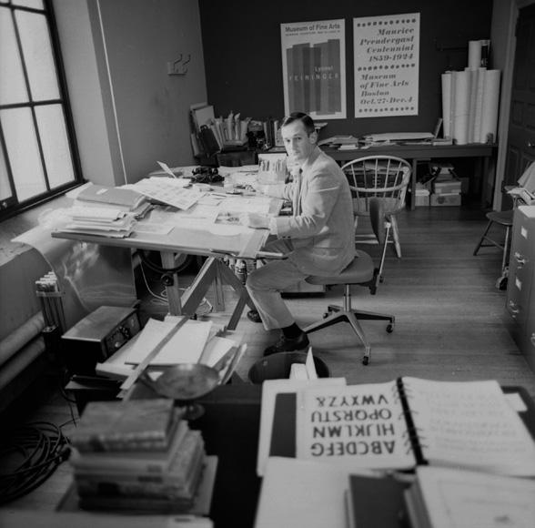 Carl Zahn at work at the MFA, Boston